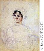 Colour portrait of Jane Austen. Редакционное фото, агентство World History Archive / Фотобанк Лори