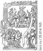 Line drawing of St Benedict. Редакционное фото, агентство World History Archive / Фотобанк Лори