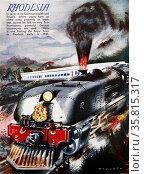 Colour illustration of a Royal Train travelling through Rhodesia. Редакционное фото, агентство World History Archive / Фотобанк Лори