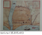 watercolour by John White (created 1585-1586), of at St. Johns Island fort. Редакционное фото, агентство World History Archive / Фотобанк Лори