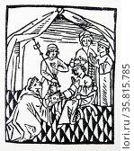 Speculum Regiminis, alias Catho moralisa by Philippi di Pergamo, woodcut 1480. Редакционное фото, агентство World History Archive / Фотобанк Лори