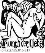 Woodcut of a female figure lying above 'Triumph der Liebe' by Ernst Ludwig Kirchner. Редакционное фото, агентство World History Archive / Фотобанк Лори