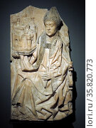 Saint Augustinus, Burgos, c 1500, alabaster with traces of polychromy. Augustine, the 4th-century Church Father, is shown here as bishop of the Roman city of Hippo Regius. Редакционное фото, агентство World History Archive / Фотобанк Лори
