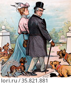 "Satirical cartoon called  ""Barking Dogs Never Bite"". Редакционное фото, агентство World History Archive / Фотобанк Лори"