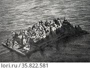 A raft of shipwrecks auxiliary cruiser Gallia. Редакционное фото, агентство World History Archive / Фотобанк Лори