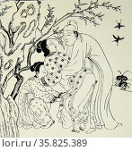 Ming Period, Chinese engraving showing an erotic scene. Редакционное фото, агентство World History Archive / Фотобанк Лори