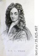 Sir Christopher Wren (1632-1723 A.D.) Редакционное фото, агентство World History Archive / Фотобанк Лори