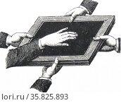 Direct' spirit writing on a slate. Редакционное фото, агентство World History Archive / Фотобанк Лори