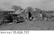 Camp of migrant workers near Mercedes, Texas. By Russell Lee, 1903-1986, dated 19390101 Feb. Редакционное фото, агентство World History Archive / Фотобанк Лори