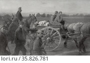 French soldiers march across the countryside, World War I 1915. Редакционное фото, агентство World History Archive / Фотобанк Лори