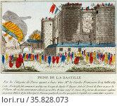 Prise de la Bastille par les Citoyens de Paris; C'est ainsi que l'on punit les traitres 1789. Редакционное фото, агентство World History Archive / Фотобанк Лори
