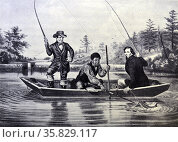 Currier & Ives Illustration 19th Century. Catching a Trout. 'We hab you now, sar' Редакционное фото, агентство World History Archive / Фотобанк Лори