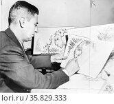 Theodor Seuss Geisel 1904 – 1991, American writer, poet, and cartoonist at work on a drawing of a grinch, the hero of his forthcoming book, 'How the Grinch Stole Christmas' Редакционное фото, агентство World History Archive / Фотобанк Лори
