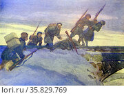 World War Two: Patriotic Russian war postcard depicting Russian soldiers attacking a German lookout post. Редакционное фото, агентство World History Archive / Фотобанк Лори