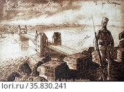 The French occupation of the Rhineland, a French colonial Algerian soldier guards a bridge at the town of Bonn, on the river rhine 1921 (2013 год). Редакционное фото, агентство World History Archive / Фотобанк Лори