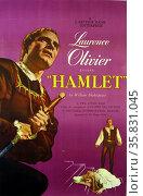 Laurence Olivier 'Hamlet'. Hamlet a 1948 British film adaptation of William Shakespeare's play. Редакционное фото, агентство World History Archive / Фотобанк Лори