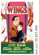 Wings a 1927 American silent film about two World War I fighter pilot friends, both involved with the same beauty, produced by Lucien Hubbard, directed by William A. Wellman and released by Paramount Pictures. It stars Clara Bow, Charles 'Buddy' Rogers, and Richard Arlen, and Gary Cooper appears in a role which helped launch his career in Hollywood. Редакционное фото, агентство World History Archive / Фотобанк Лори