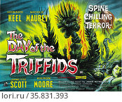 The Day of the Triffids' starring Janette Scott and kieron Moore a 1962 British film based on the 1951 science fiction novel of the same name. Редакционное фото, агентство World History Archive / Фотобанк Лори
