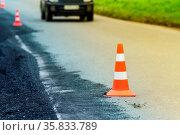 Warning traffic road cone set on asphalt street road during road ... Стоковое фото, фотограф Zoonar.com/Alexander A. Piragis / age Fotostock / Фотобанк Лори