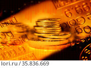 Double exposure of graph and rows of gold coins. Economy trends background... Стоковое фото, фотограф Zoonar.com/BASHTA / easy Fotostock / Фотобанк Лори