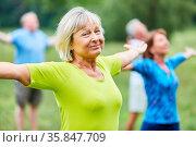 Sportliche Senioren strecken die Arme aus in einem Wellness Yoga ... Стоковое фото, фотограф Zoonar.com/Robert Kneschke / age Fotostock / Фотобанк Лори