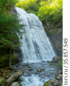 Mountain cascade waterfall. Falls Irina. Eastern Abkhazia. Near the town of Tkvarcheli. Akarmara District. Стоковое фото, фотограф Григорий Стоякин / Фотобанк Лори