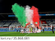 Juventus's players celebrate with the trophy at the end of the Italian... Редакционное фото, фотограф Alberto Ramella / Sync / AGF/Alberto Ramella / Syn / age Fotostock / Фотобанк Лори