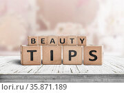 Beauty tips sign on a makeup table in a bright powder room with a... Стоковое фото, фотограф Zoonar.com/Polarpx / age Fotostock / Фотобанк Лори