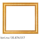 Empty wide golden wooden picture frame with cut out canvas isolated... Стоковое фото, фотограф Zoonar.com/Valery Voennyy / easy Fotostock / Фотобанк Лори