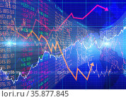 Stock market data and graphs processing over blue background, finances and economy concepts. Стоковое фото, агентство Wavebreak Media / Фотобанк Лори