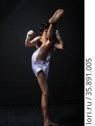 Practicing martial arts. Стоковое фото, агентство Ingram Publishing / Фотобанк Лори