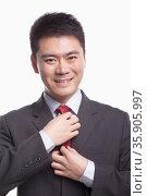 Businessman Adjusting His Tie. Стоковое фото, агентство Ingram Publishing / Фотобанк Лори