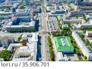 Panorama of Yekaterinburg city center and city hall. View from above. Russia. Стоковое фото, фотограф Евгений Ткачёв / Фотобанк Лори