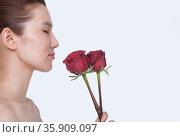 Beautiful young woman with eyes closed smelling a red rose, studio shot. Стоковое фото, агентство Ingram Publishing / Фотобанк Лори