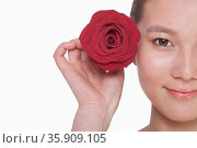 Smiling young woman holding up a red rose next to her ear, studio shot. Стоковое фото, агентство Ingram Publishing / Фотобанк Лори