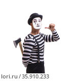 Mime with axe isolated on white background. Стоковое фото, фотограф Elnur / Фотобанк Лори