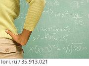 Female student stood in front of blackboard. Стоковое фото, фотограф Shannon Fagan / Ingram Publishing / Фотобанк Лори