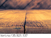 Dark plank wood floor and wall texture perspective background for... Стоковое фото, фотограф Zoonar.com/BASHTA / easy Fotostock / Фотобанк Лори