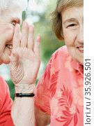 Two senior women sharing a secret. Стоковое фото, фотограф Shannon Fagan / Ingram Publishing / Фотобанк Лори