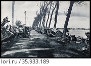 One of the left munitions strewn down Flemish roads leading to Dunkirk center : Dunkirk in bombing d Luftwaffe. Редакционное фото, агентство World History Archive / Фотобанк Лори