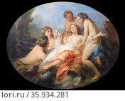 Painting titled 'Psyche Rescued by Naiads from Drowing' by Jean-Baptiste Marie Pierre. Редакционное фото, агентство World History Archive / Фотобанк Лори