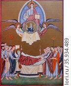 Romanesque manuscript depicting 'The Death of the Virgin' Редакционное фото, агентство World History Archive / Фотобанк Лори