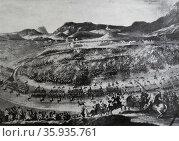 Engraving depicting the Battle of Almansa. Редакционное фото, агентство World History Archive / Фотобанк Лори
