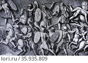 Engraving depicting a battle between the Romans and the German Marcomanni. Редакционное фото, агентство World History Archive / Фотобанк Лори