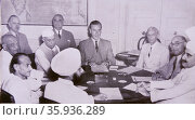 Meeting with the Indian Leaders at the British Viceroy's House, 2nd June, 1947. Редакционное фото, агентство World History Archive / Фотобанк Лори