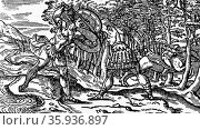 Woodcut depicting a scene from the poem of 'Orlando Furioso' by Ludovico Ariosto. Редакционное фото, агентство World History Archive / Фотобанк Лори