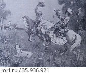 Engraving depicting the sport of Falconry during the 15th Century. Редакционное фото, агентство World History Archive / Фотобанк Лори