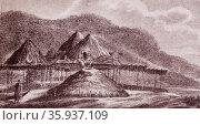 Summer and winter huts of native tribes of Kamatchka Russia 1850. Редакционное фото, агентство World History Archive / Фотобанк Лори