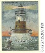 Robbins Reef Lighthouse; New York 1920. Редакционное фото, агентство World History Archive / Фотобанк Лори