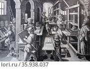 Engraving depicting the beginning of printing. Редакционное фото, агентство World History Archive / Фотобанк Лори